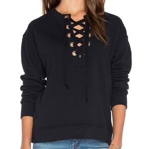 Mother The Tie Up Easy Black Sweatshirt XS